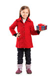 Full length portrait of a child with a gift Stock Images