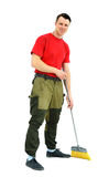 Full length portrait of a cleaner in a uniform Stock Photography