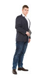 Full Length Portrait Confident Young Businessman with a Modern T Royalty Free Stock Images
