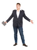 Full Length Portrait Confident Young Businessman with a Modern T Royalty Free Stock Photo