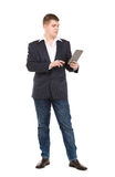 Full Length Portrait Confident Young Businessman with a Modern T Royalty Free Stock Photography