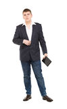 Full Length Portrait Confident Young Businessman with a Modern T Royalty Free Stock Photos