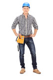 Full length portrait of a construction guy Royalty Free Stock Image