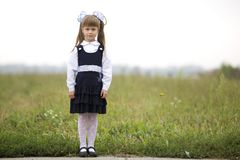Full-length portrait of cute adorable serious thoughtful first grader girl in school uniform and white bows in long blond hair on. Blurred light green sunny stock images