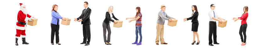 Full length portrait of different people collaborating each othe Royalty Free Stock Photography