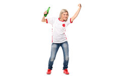 Full length portrait of excited female sport fan Royalty Free Stock Images