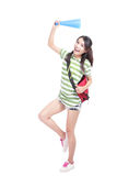 Full length portrait of excited student girl. Isolated over white background, model is a asian woman Stock Photos