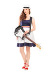 Full length portrait of a female with an electric guitar Stock Image