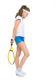 Full length portrait of female tennis player Stock Photos