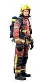 Full length portrait of Fireman. Full length portrait of Fireman in uniform isolated on white background Royalty Free Stock Photos
