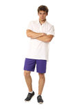 Full length portrait of a fitness man in blue shorts isolated Stock Image