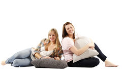 Full length portrait of friends relaxing Royalty Free Stock Image
