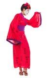 Full length portrait of geisha dancing Royalty Free Stock Images