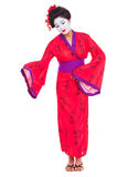 Full length portrait of geisha inviting Stock Photos