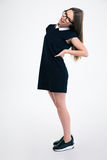 Full length portrait of a girl having back pain Royalty Free Stock Photography