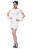 Full length portrait of a girl in party wear dress. Fashion girl posing in style, full length portrait stock photo