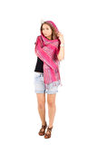 Full length portrait of a girl in scarf royalty free stock photos