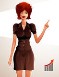 Full-length portrait of a gorgeous red-haired business lady, colorful drawing. Stylish well-dressed woman. Pointing at something to side with her finger. Vector Royalty Free Stock Image
