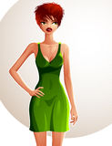 Full-length portrait of gorgeous red-haired sexy lady wearing Royalty Free Stock Images