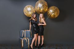 Full-length portrait of graceful girl with trendy hairstyle touching gift box and laughing. Studio photo of two ecstatic. Ladies posing with golden balloons on royalty free stock photo