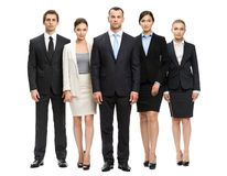 Full-length portrait of group of business people. Isolated on white. Concept of teamwork and cooperation Royalty Free Stock Images
