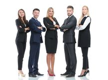 Full-length portrait of group of business people, isolated on white. Stock Photography