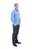 Full length portrait of handsome arabic business man in blue shi. Rt isolated on white background Royalty Free Stock Image