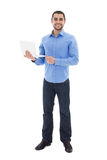 Full length portrait of handsome arabic man with laptop isolated. On white background royalty free stock image