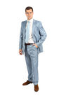 Full length portrait  of handsome businessman in suit Royalty Free Stock Photo