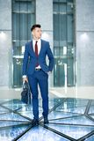 Handsome Businessman with Leather Bag royalty free stock photo