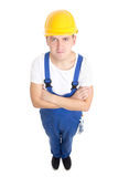 Full length portrait of  handsome man builder in blue uniform is Stock Photo