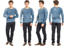 Full length portrait of handsome man in jeans isolated. Full length portrait of handsome man in jeans Royalty Free Stock Photo
