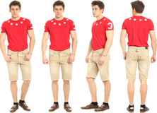 Full length portrait of handsome man in shorts isolated. Full length portrait of handsome man in shorts Stock Photography