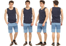 Full length portrait of handsome man in shorts isolated. Full length portrait of handsome man in shorts Royalty Free Stock Images