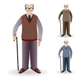 Full length portrait of an handsome old man standing with cane i Stock Photo