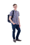Full length portrait of handsome teenage boy with backpack isola Stock Image