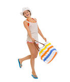 Full length portrait of happy beach woman jumping Royalty Free Stock Photo