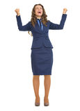 Full length portrait of happy business woman rejoicing success Stock Image