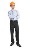 Full length portrait of a happy businessman in helmet Royalty Free Stock Photography