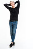 Full length portrait of a happy casual man Stock Images