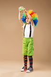 Full-length portrait of Happy clown boy with large colorful wig. Stock Image