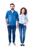 Full length portrait of happy couple standing isolated on white Stock Photography