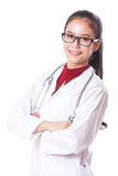 Full length portrait of happy female doctor with stethoscope. Stock Images