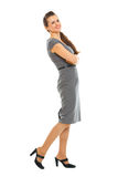 Full length portrait of happy female employee Royalty Free Stock Images