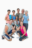 Full length portrait of happy fitness class Royalty Free Stock Photography