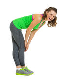 Full length portrait of happy fitness young woman Stock Photos