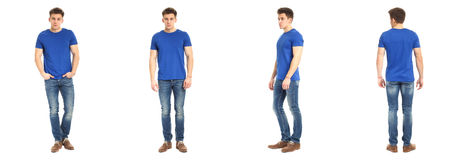 Full length portrait of happy handsome young man isolated on white background Royalty Free Stock Image