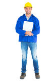 Full length portrait of happy manual worker with clipboard. On white background Stock Image