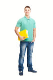 Full length portrait of happy smiling student with his notebook Royalty Free Stock Images