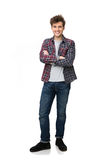 Full length portrait of a happy student standing. Over white background Royalty Free Stock Photography